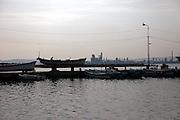 Fishermen boats near Bokbu beach with Posco industrial complex in the background / Pohang, South Korea, Republic of Korea, KOR, 04 October 2009.
