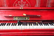 Red Theodor Betting Piano Photographed in Armenia, Yerevan