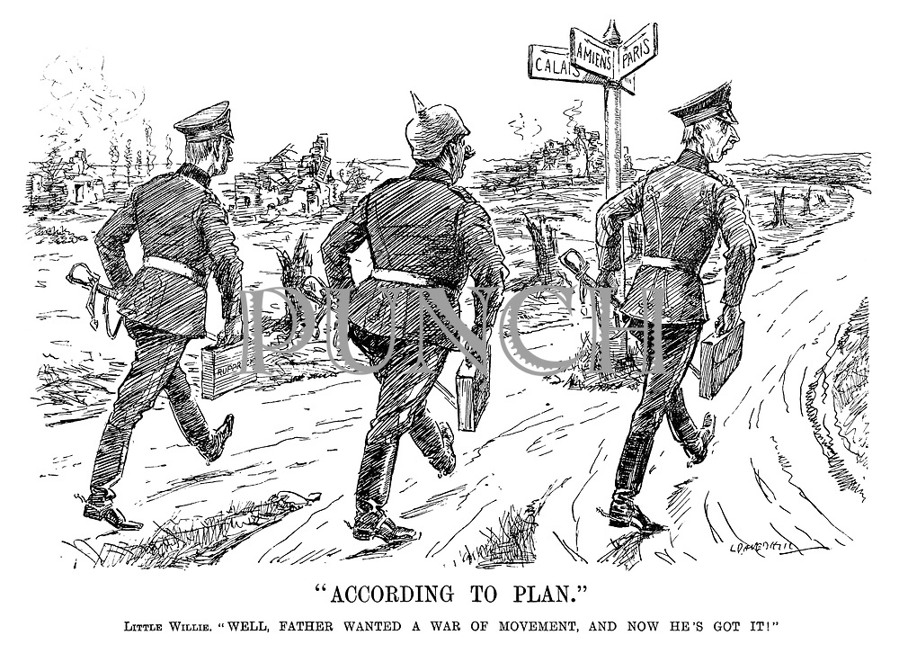"""""""According to Plan."""" Little Willie. """"Well, father wanted a war of movement, and now he's got it!"""" (Crown Prince Wilhelm and Crown Prince Rupprecht begin their retreat away from Paris and Amiens back to Germany during WW1)"""