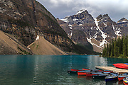 Moraine Lake is a glacial lake located in Banff National Park in the province of Alberta, Canada.