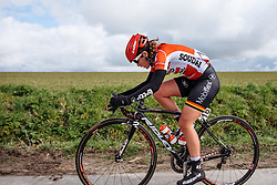 Chantal Hoffmann glad to be back on level ground after climbing Paterberg - Dwars door Vlaanderen 2016, a 103km road race from Tielt to Waregem, on March 23rd, 2016 in Flanders, Netherlands.