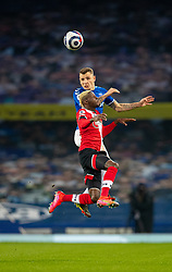 LIVERPOOL, ENGLAND - Monday, March 1, 2021: Everton's Lucas Digne challenges for a header with Southampton's Moussa Djenepo during the FA Premier League match between Everton FC and Southampton FC at Goodison Park. Everton won 1-0. (Pic by David Rawcliffe/Propaganda)