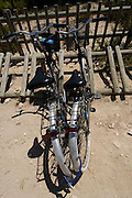 Typical bicycle parking in Formentera, Balearic Islands, Spain