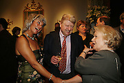 Sara Wheeler,Stanley Johnson and Mrs. Paul Johnsonr, Party to celebrate the publication of Too Close To The Sun: The Life and Times of Denys Finch Hatton by Sara Wheeler, Christies. King St. St. James. London. 9 March 2006. ONE TIME USE ONLY - DO NOT ARCHIVE  © Copyright Photograph by Dafydd Jones 66 Stockwell Park Rd. London SW9 0DA Tel 020 7733 0108 www.dafjones.com