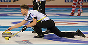 """Glasgow. SCOTLAND. Scotland's Ross PATERSON, guides his """"Stone' as he approaches the """"Hog Line"""" at the Le Gruyère European Curling Championships. 2016 Venue, Braehead  Scotland<br /> Sunday  20/11/2016<br /> <br /> [Mandatory Credit; Peter Spurrier/Intersport-images]"""