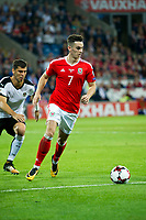 Football - 2017 / 2018 _Wales v Austria_FIFA World Cup Qualifier 2018<br /> <br /> Tom Lawrence of Wales attacks--- at Cardiff City Stadium.<br /> <br /> COLORSPORT/WINSTON BYNORTH