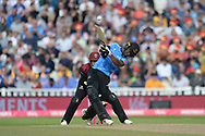 Delray Rawlins of Sussex hits a six down the ground during the Vitality T20 Finals Day semi final 2018 match between Sussex Sharks and Somerset County Cricket Club at Edgbaston, Birmingham, United Kingdom on 15 September 2018.