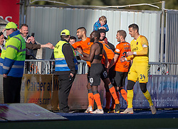 Dundee United's players with fans at the end. Falkirk 0 v 2 Dundee United, Scottish Championship game played 22/9/2018 at The Falkirk Stadium.