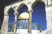 Jerusalem - The Dome of the Rock. Oldest existing Muslim monument, built 685-691 as a shrine for pilgrims (a mashhad). The Rock is sacred to Muslims as site from which Muhammad ascended to heaven, and to Jews as place where Abraham prepared to sacrifice Isaac.