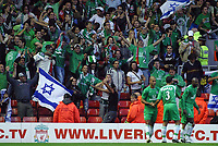 Photo: Paul Thomas.<br /> Liverpool v Maccabi Haifa. UEFA Champions League Qualifier. 09/08/2006.<br /> <br /> Maccabi Haifa celebrate their goal.