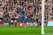 Omar Beckles of Shrewsbury Town (6) makes a run at goal but is held off by Elliot Whitehouse of Lincoln City (4) during the EFL Trophy Final match between Lincoln City and Shrewsbury Town at Wembley Stadium, London, England on 8 April 2018. Picture by Stephen Wright.
