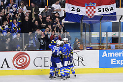 04.03.2010, Dom sportova, Zagreb, CRO, EBEL, KHL Medvescak Zagreb vs Graz 99ers, im Bild Richard Seeley, 2, KHL Medvescak Zagreb and other players celebrating goal, EXPA Pictures © 2010, PhotoCredit: SPORTIDA/ EXPA/ Matic Klansek / SPORTIDA PHOTO AGENCY