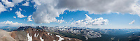 Panoramic view south of Mt. Gibbs and Yosemite high country from summit of Mt. Dana (13,053 ft), Yosemite national park, California, USA