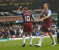 Photo: Steve Bond.<br />Birmingham City v West Ham United. The FA Barclays Premiership. 18/08/2007. mark Noble (R) & Craig Bellamy (10) celebrate