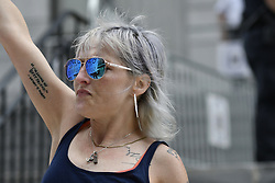 June 17, 2017 - Norristown, Pennsyvlania, United States - Artist Bird Milliken reacts outside Montgomery County Courthouse after judge Steven O'Neill declares a mistrial in the aggravated indecent assault trail of entertainer Bill Cosby, in Norristown, Pennsylvania, on June 17, 2017. (Credit Image: © Bastiaan Slabbers/NurPhoto via ZUMA Press)