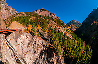 """Red Mountain Pass (called the """"Million Dollar Highway) in autumn, between Ouray and Silverton, Colorado USA."""