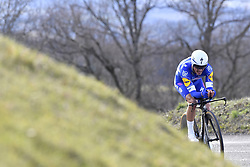 March 7, 2018 - Saint Etienne, France - SAINT-ETIENNE, FRANCE - MARCH 7 : ALAPHILIPPE Julian  (FRA)  of Quick - Step Floors in action during stage 4 of the 2018 Paris - Nice cycling race, an individual time trial over 18,4 km from La Fouillouse to Saint-Etienne on March 07, 2018 in Saint-Etienne, France, 7/03/2018 (Credit Image: © Panoramic via ZUMA Press)
