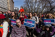 New York, NY - 24 March 2019. Senator Kirsten Gillibrand (D-NY) held a presidential campaign rally on New York's Central Park West in Front of the Trump Hotel  and Tower. Gillibrand had a crowd of enthusiastic supporters.