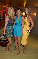 Left to right, MARISSA MONTGOMERY, VIOLET VON WESTENHOLTZ and OLIVIA BUCKINGHAM at a fashion show by ISSA held at Cocoon, 65 Regent Street, London on 21st September 2005.<br />