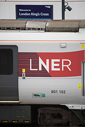 © Licensed to London News Pictures.  08/05/2021. London, UK. LNER train at Kings Cross Station in Central London. Trains to Edinburgh, Newcastle, York, Peterborough and Doncaster from Kings Cross have been cancelled due to major disruption. London North Eastern Railway have advised that 'do not travel' on the entire LNER network due to 'a problem under investigation'. LNER released a map of alternative connections from different London's station.  Photo credit: Marcin Nowak/LNP