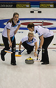 """Glasgow. SCOTLAND. Scotland's Vice """"Skip""""  watches her """"Stone"""" during the Le Gruyère European Curling Championships. 2016 Venue, Braehead  Scotland<br /> Sunday  20/11/2016<br /> <br /> [Mandatory Credit; Peter Spurrier/Intersport-images]"""