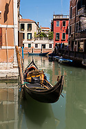 A gondola on the canals of Venice, Italy