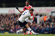 Jan Vertonghen of Tottenham Hotspur runs into Anthony Martial of Manchester United. Barclays Premier league match, Tottenham Hotspur v Manchester Utd at White Hart Lane in London on Sunday 10th April 2016.<br /> pic by John Patrick Fletcher, Andrew Orchard sports photography.