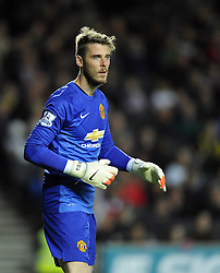 Manchester United's David De Gea - Photo mandatory by-line: Joe Meredith/JMP - Mobile: 07966 386802 26/08/2014 - SPORT - FOOTBALL - Milton Keynes - Stadium MK - Milton Keynes Dons v Manchester United - Capital One Cup