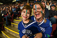 KELOWNA, BC - SEPTEMBER 29: Fans support their team in the stands as the Vancouver Canucks take on the Arizona Coyotes in the final game of the preseason at Prospera Place on September 29, 2018 in Kelowna, Canada. (Photo by Marissa Baecker/NHLI via Getty Images)  *** Local Caption ***