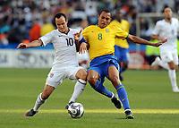 Fotball , 18. juni 2009<br /> v.l. Landon Donovan , Silba Gilberto Brasilien<br /> <br /> Fussball Confederations Cup 2009 in Suedafrika, USA - Brasil  0:3<br /> <br /> Norway only