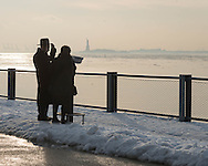 New York, Brooklyn piers. the port of New York cluttered with ice