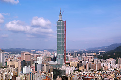 Construction of Taipei 101 formerly the worlds tallest building in Taipei Taiwan