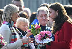 The Duke and Duchess of Cambridge visit the Irish Football Association at Windsor Park, Belfast, UK, on the 27th February 2019. 27 Feb 2019 Pictured: Catherine, Duchess of Cambridge, Kate Middleton. Photo credit: James Whatling / MEGA TheMegaAgency.com +1 888 505 6342