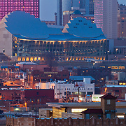 View of Kauffman Center for the Performing Arts at dusk with telephoto/zoom lens from Penn Valley Park, Kansas CIty, Missouri.