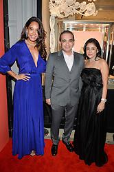 Left to right, LISA HAYDON, NIRAV MODI and AMI MODI at the opening of the Nirav Modi flagship London store at 31 Old Bond Street, London on 19th September 2016.