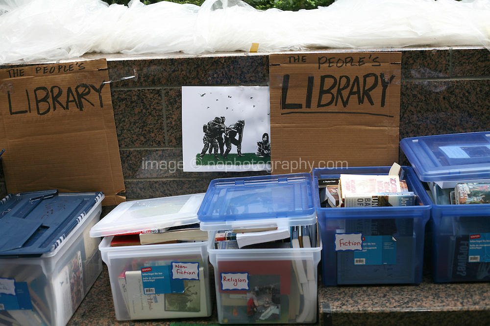 Library at the Occupy Wall Street protest at Zuccotti Park in the financial district New York