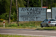 Łukaszenka odejdź! - hasło przy drodze na Białoruś