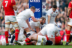 England Prop Dan Cole is driven over the tryline by Hooker Dylan Hartley (capt) and Flanker Chris Robshaw but the ball is ruled to be held up - Mandatory byline: Rogan Thomson/JMP - 12/03/2016 - RUGBY UNION - Twickenham Stadium - London, England - England v Wales - RBS 6 Nations 2016.