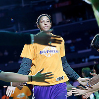 22 June 2014: forward/center Candace Parker (3) of the Los Angeles Sparks is seen during the players introduction prior to the San Antonio Stars 72-69 victory over the Los Angeles Sparks, at the Staples Center, Los Angeles, California, USA.