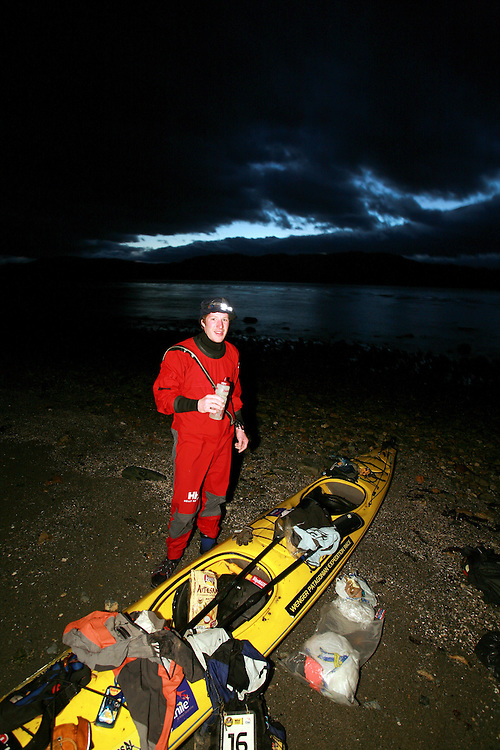 The British Team Helly Hansen Prunesco member Bruce Duncan on a beach on the Magallan Straights in Patagonia, Chile, South America while competing in the 2009 Wenger Patagonia Expedition Race.  .Copyrighted work .Permission must be sought before use of this image..Alex Ekins .0114 2630277.07901883 994