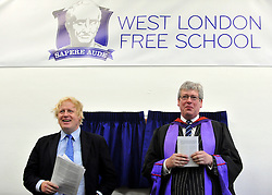 © licensed to London News Pictures. LONDON, UK.  09/09/11.Boris Johnson (L) and Thomas Packer (R). London Mayor Boris Johnson joins Chair of Governors Toby Young to officially open the The West London Free School (WLFS). The WLFS is an 11-18 secondary school, which has been set up by a group of parents and teachers in Hammersmith. The school is led by headmaster Thomas Packer . Mandatory Credit Stephen Simpson/LNP