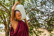 """01 MARCH 2014 - MAE SOT, TAK, THAILAND: A Buddhist novice monk carries a jug of water back to his temple in a Burmese community in the forest a few kilometers north of Mae Sot. Mae Sot, on the Thai-Myanmer (Burma) border, has a very large population of Burmese migrants. Some are refugees who left Myanmar to escape civil unrest and political persecution, others are """"economic refugees"""" who came to Thailand looking for work and better opportunities.     PHOTO BY JACK KURTZ"""