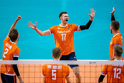 Michael Parkinson of Netherlands celebrate during the CEV Eurovolley 2021 Qualifiers between Sweden and Netherlands at Topsporthall Omnisport on May 14, 2021 in Apeldoorn, Netherlands