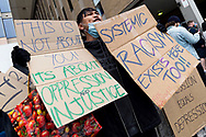 A protestor is seen shouting and holding signs to show support on 06 June, 2020 in Melbourne, Australia. This event was organised to rally against aboriginal deaths in custody in Australia as well as in unity with protests across the United States following the killing of an unarmed black man George Floyd at the hands of a police officer in Minneapolis, Minnesota. (Photo by Mikko Robles/ Speed Media)