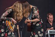 Swedish band First Aid Kit (sisters, Klara and Johanna Söderberg) perform on the Pyramid Stage - The 2017 Glastonbury Festival, Worthy Farm. Glastonbury, 23 June 2017