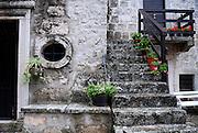 Detail of oval-shaped window and steps, Church of Sveti Antun (Saint Anthony), Glavica Svetog Antuna (Hill of Saint Anthony). Korcula, island of Korcula, Croatia
