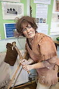 Mannequin model of Mesolithic hunter with antler pick tool, Amesbury History Centre, Wiltshire, England, UK