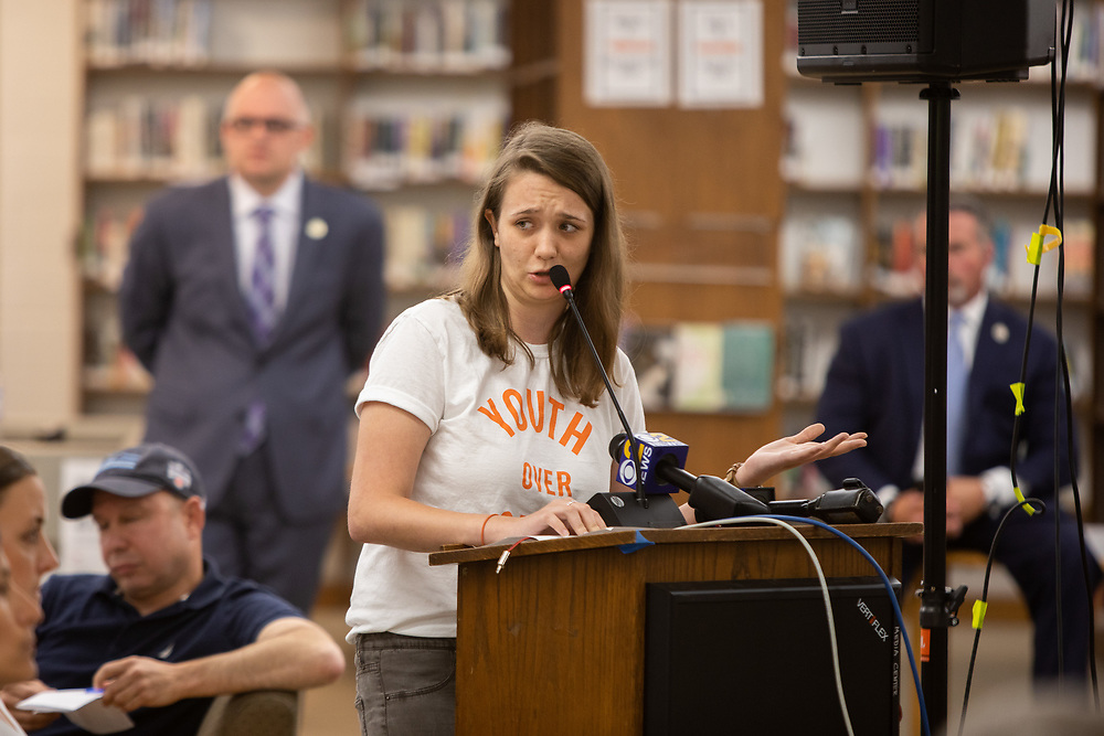 Emily Paule, a Bloomfield High School student, speaks during a meeting of the Bloomfield Board of Education. The Board considering hiring armed officers for each elementary school. <br /> 6/5/18 Photo by John O'Boyle