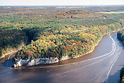 Aerial view of the Dells of the Wisconsin River, just upstream from the city of Wisconsin Dells.