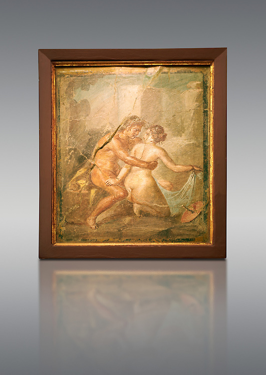 1 cent AD Roman Erotic  fresco from a house in Pompeii. Naples Archaological Museum .<br /> <br /> If you prefer to buy from our ALAMY PHOTO LIBRARY  Collection visit : https://www.alamy.com/portfolio/paul-williams-funkystock - Scroll down and type - Roman Art Erotic  - into LOWER search box. {TIP - Refine search by adding a background colour as well}.<br /> <br /> Visit our ROMAN ART & HISTORIC SITES PHOTO COLLECTIONS for more photos to download or buy as wall art prints https://funkystock.photoshelter.com/gallery-collection/The-Romans-Art-Artefacts-Antiquities-Historic-Sites-Pictures-Images/C0000r2uLJJo9_s0
